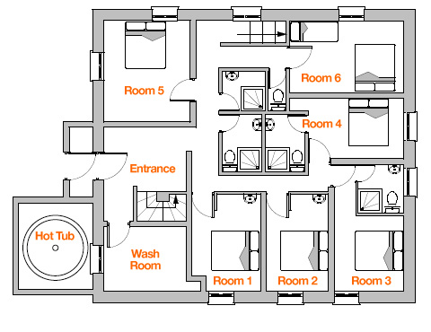 chalet floor plan - ice and orange | chalets tissières